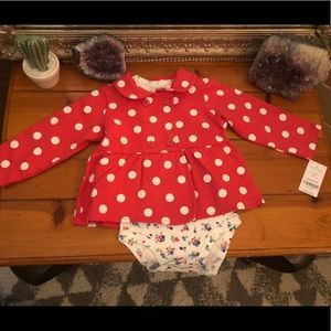 Baby 12-18m, Carters pink polka dot two piece